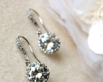 Bridesmaid Gift Bridesmaid Earrings Simple Crystal Wedding Earrings Round CZ Drop Earrings Wedding Jewelry Bridal Party Gifts