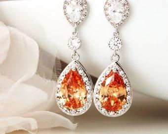 Peach Earrings Champagne Earrings Peach Wedding Jewelry Bridal Earrings Formal Prom Anniversary Gift Earrings Bridal Party Gifts