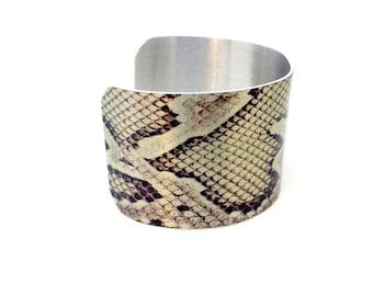 Statement Bracelet - Gift for Her - 1980s Style - Snake Bracelet - Snakeskin Cuff - Girlfriend Gift - Snakeskin Bracelet - Snake Jewelry