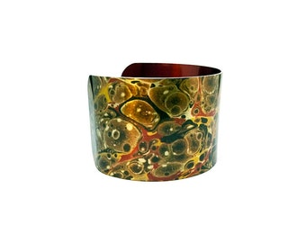 Gifts for Women - Aluminum Cuff Bracelet - Bold Jewelry - Gift for Wife - Paper Marbling - Cuff Bangle