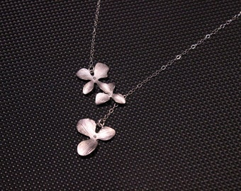 Lariat Orchid Flower Dainty Sterling Silver Necklace-N75