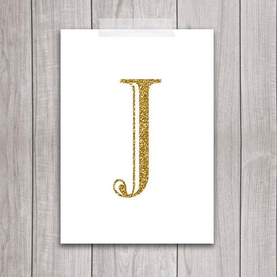 Gold letter art 5x7 letter j wall art gold glitter art for Large letter j for wall