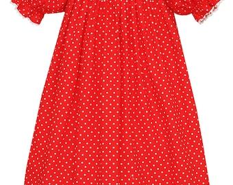 Santa Smocked Bishop Dress ~ Red Polka Dot