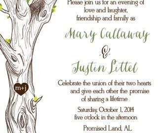 The Giving Tree Wedding Invitation - Hand Drawn
