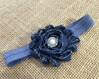 Headband for newborns, Girls headband, Newborn headband, Newborn denim headband, Baby denim headband, Baby headband, Toddler headband