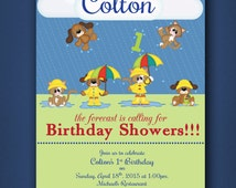 1st Birthday Party Invitation • Raining Cats and Dogs • Primary colors • Baby Party Invitations • Cats and Dogs Theme