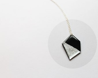 minimalist necklace geometric necklace contemporary jewelry vinyl necklace eco necklace silver dipped necklace recycled pendant necklace