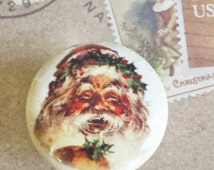 "ON SALE Handmade Santa Clause Knob Drawer Pulls, Vintage Christmas Cabinet Pull Handles, Old Fashion St Nick 1.5"" Dresser Knobs, Made to Ord"
