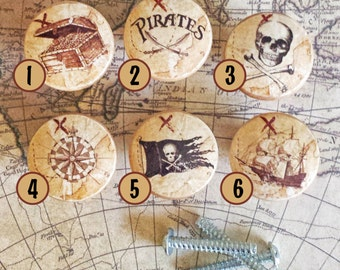 Handmade Pirate Knobs Drawer Pulls, Mix and Match Nautical Knobs, Dresser Knob Pulls, Chest, Jolly Roger, Ship, Compass, Made To Order