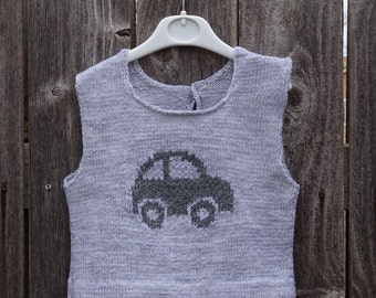 Hand Knit Vest, Knitted Grey Vest with Car, Vest for Boy, Size 2 Years, Sleeveless Sweater, Vest with Car,  Ready to Ship, Toddler's Vest
