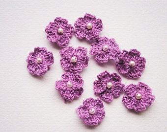 Crochet flower appliques, mini crochet flowers, purple flowers, scrapbooking flowers, crochet flowers for cards and scrapbooking, appliques