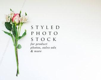 Pink Rose Floral Styled Stock Photography, Product Mockup, Styled Background, Product Photography, Digital Background, Desktop Background