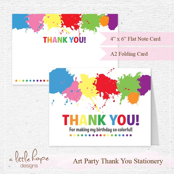 Art Party Thank You Cards 2 Sizes / Art Party Printable