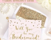 Blush Pink & Gold Glitter, Will you be my Bridesmaid, Maid of Honor, Bridal Proposal Card invitation instant download Printable DIY Set KIT