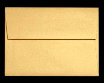 25 A7 Envelopes METALLIC GOLD Shimmer for 5x7 DIY Blanks - Cards Invitations Announcements Parties with Square Style Flap Good Quality