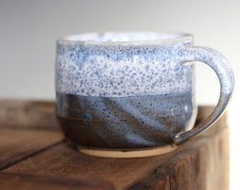 Blue and White Stoneware Mug-- Handmade Unique Coffee Mug 8oz
