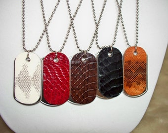 Mens Necklace - Snake Skin Jewelry- Stainless Steel Jewelry - Stainless Steel Necklace - Mens Leather  - Mens Leather Jewelry