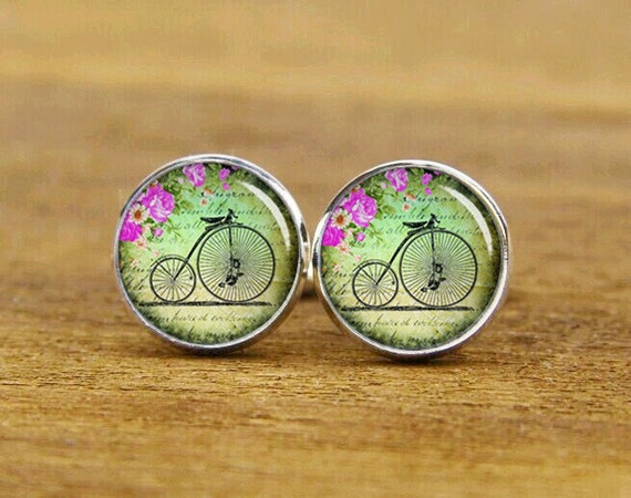 vintage bike cufflinks, old bicycle cufflinks, custom round or square cufflinks & tie clips set, groom wedding cufflinks, bike tie tacks
