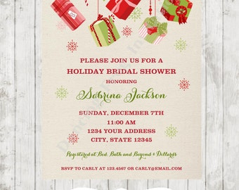 SALE!! Custom PRINTED Holiday Christmas Bridal Shower Invitation - .80 each with envelopes included!