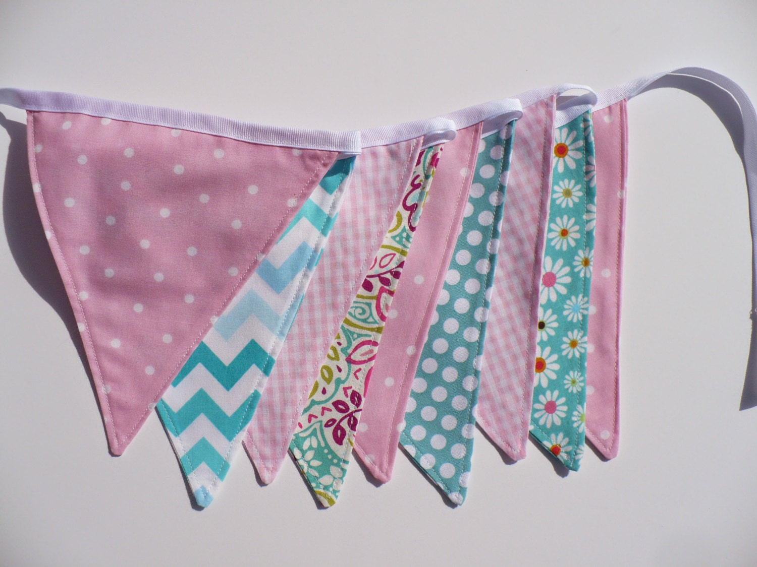 pink and turquoise bunting girl baby shower by bluebonnetbunting