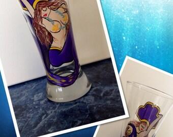 Hand Painted ECU Pirate Pin-up Mermaid Pilsner Glass