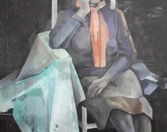 Vintage European art oil painting old woman portrait