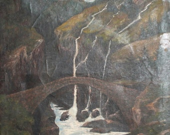 Antique 1911 Bulgarian art oil painting landscape waterfall signed