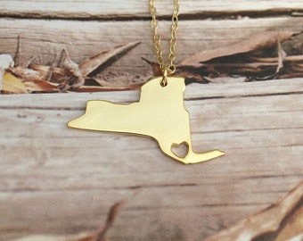 Gold NY State Necklace,New York State Shaped Necklace,NY State Necklace,New York State Necklace,Personalized NY Necklace With A Heart