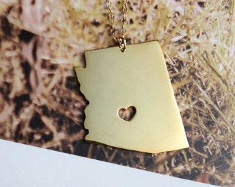 Arizona State Necklace Charm Necklace State Shaped Necklace Personalized State Necklace 18k Gold plated State Necklace With A Heart