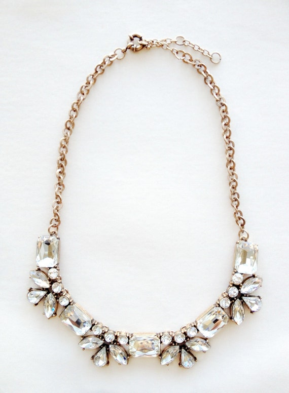 Crystal Petal Flower Statement Necklace