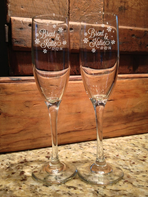 wedding toasting flutes champagne flutes personalized wedding snow