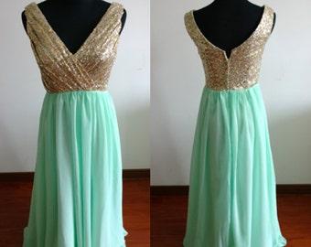 Sequins mint prom dress long prom dresses floor length long dress cheap prom dress evening dress homecoming dress wedding dress