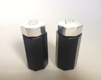 Chic Vintage French Black Glass Paneled Salt and Pepper Shakers w/ Silver Tops