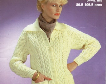 f321a854f36f Womens Aran Jacket knitting pattern PDF ladies Aran Cardigan cable jacket  collar pockets 34-42 inch Aran worsted 10ply PDF instant download