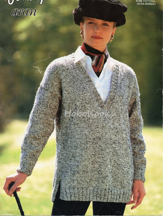 Knitting Pattern Ladies V Neck Jumper : Womens Knitting Pattern Long V Neck Sweater Side Vents Womens