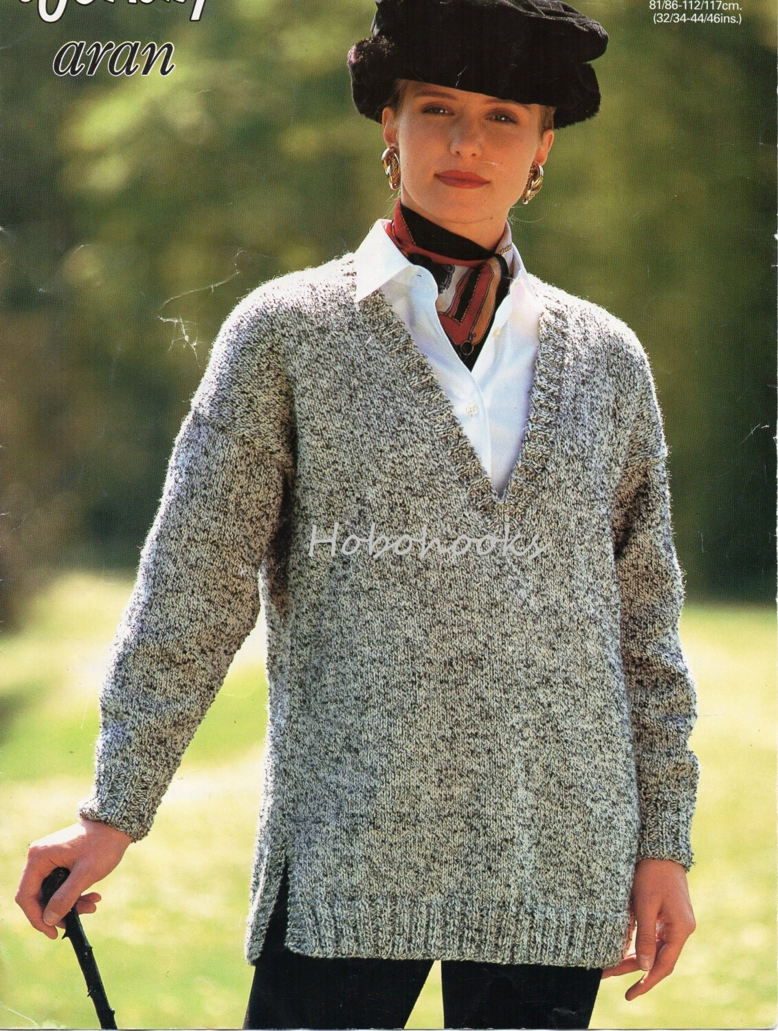 Knitting Patterns For Larger Ladies : Womens Knitting Pattern Long V Neck Sweater Side Vents Womens