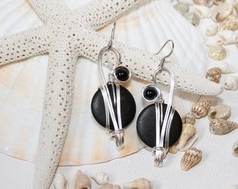 Long Black Earrings, Black Dangle Earrings, Black Onyx Jewelry, Wirework Earrings, Wire Wrapped Jewelry, Big Earrings, Long Earrings