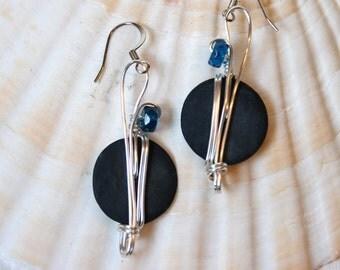 Funky Earrings, Navy Blue Earrings, Blue Dangle, Royal Blue Jewelry, Boho Chic Earrings, Deep Blue Jewelry, Dark Blue, Indigo Earrings
