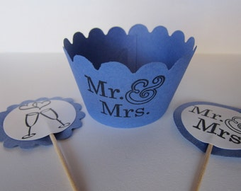 Set of 48- Wedding Cupcake Wrapper and Picks