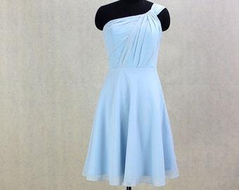 Short Bridesmaid Dress One Shoulder Chiffon Dress Short Prom Dress