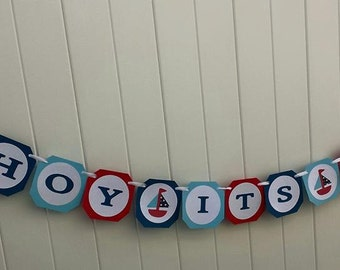 Ahoy It's A Boy Banner, Baby Boy Shower, Nautical Baby Shower Decoration, Handmade Banner,  Blue Red Baby Blue, Sailboats, Nautical Banner