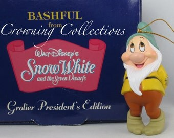 Grolier Bashful President's Edition Ornament Disney Snow White and the Seven Dwarfs 7 Gem Jewel Christmas & Dwarves Dwarf