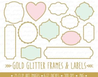 Gold Glitter Frames Clipart. Gold Glitter Labels Clip Art. Metallic Sparkle Borders. Pink Mint and Glitter Frames. Golden Digital Frames.