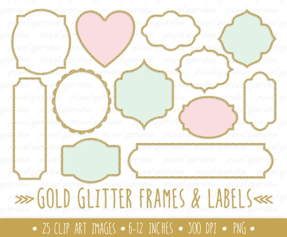 gold glitter frames clipart gold glitter labels clip art metallic sparkle borders pink