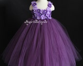 Dust Plum Eggplant Purple Violet Mixed Flower Girl Tutu Dress birthday parties dress Easter dress Occasion dress (with a matching headpiece)