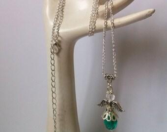 Guardian Angel Necklace , Teal Crystal Earrings , Teal Earrings , Silver Earrings , Protection , Gift , Handmade Jewellery