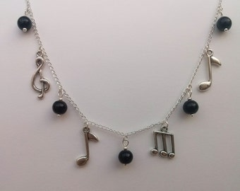 Music Necklace , Silver Charm Necklace , Silver Necklace , Black Necklace , Music Notes , Musician Gift , Handmade Jewelry , Gift