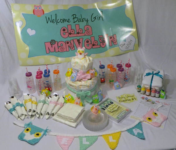 baby shower party in a box for 12 people with custom banners
