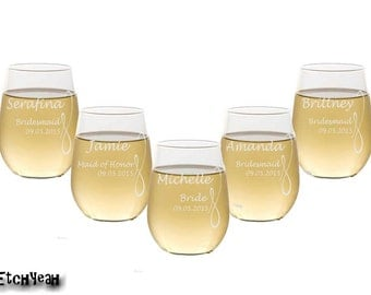 Engraved Stemless Wine Glasses / Personalized Bridesmaids Gifts / Wedding Party Glasses / Custom / Select Any Quantity / 16 DESIGNS