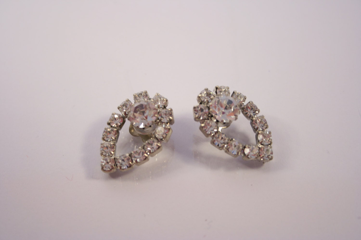 vintage costume jewelry clip on rhinestone earrings by